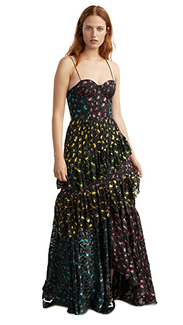 alice + olivia Luella Asymmetrical Ruffle Maxi Dress