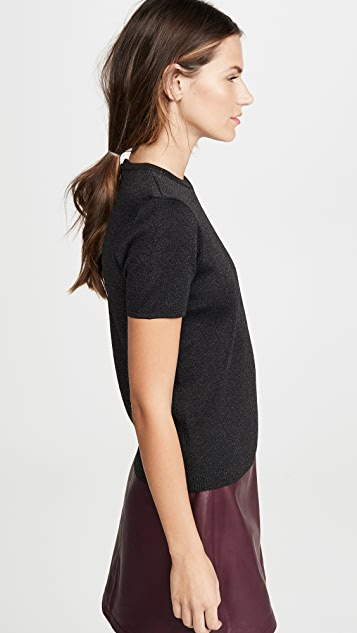 alice + olivia Aster Short Sleeve Collared Pullover