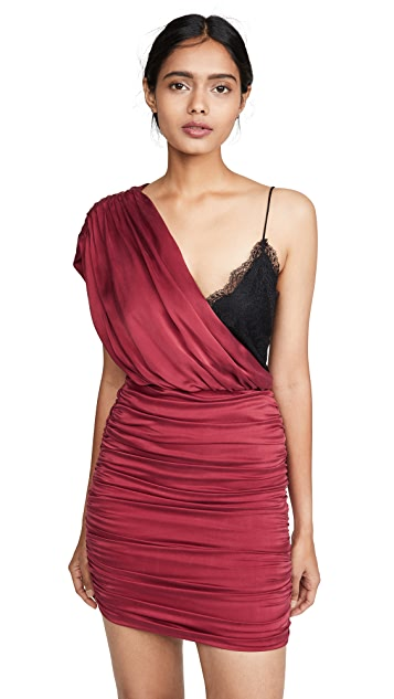alice + olivia Bianca Ruched One Shoulder Mini Dress