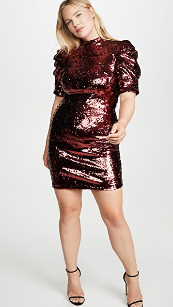 alice + olivia Brenna Sequin Fitted Puff Sleeve Dress