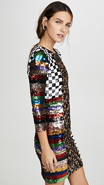 alice + olivia Jae Sequin Keyhold Black Mini Dress