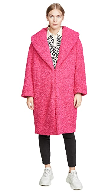 alice + olivia Ora Faux Fur Long Oversized Collar Coat