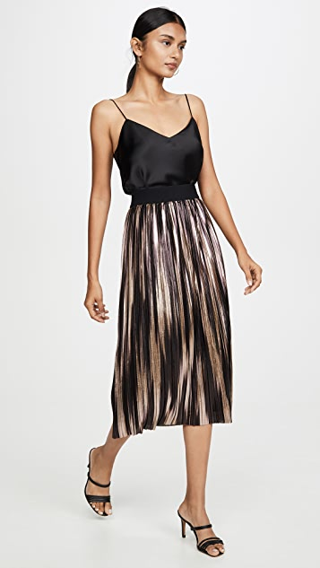 alice + olivia Mikaela Midlength Pleated Skirt