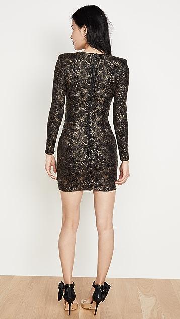 alice + olivia Diaz 深 V 领垂褶连衣裙