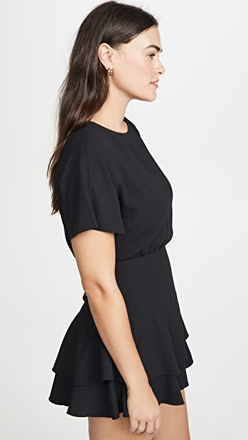alice + olivia Palmira Tie Back Tiered Ruffle Dress