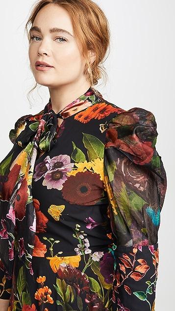 alice + olivia Karen Tie Neck Tiered Handkerchief Dress
