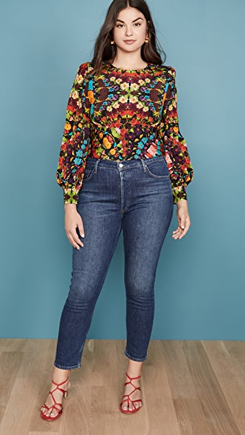 alice + olivia Quilla 条纹肩部女式衬衫