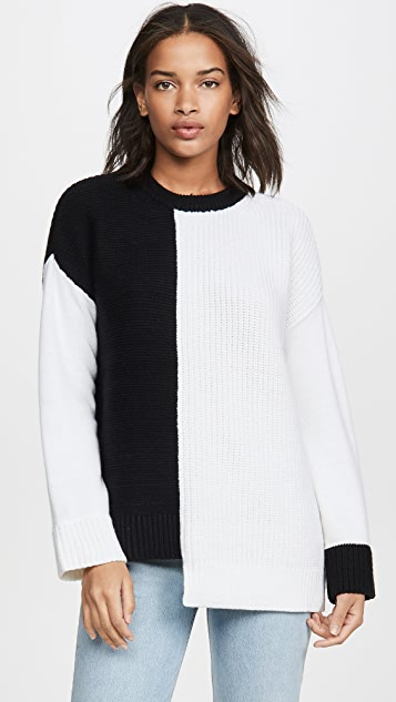 alice + olivia Асимметричный пуловер Sparrow с округлым вырезом