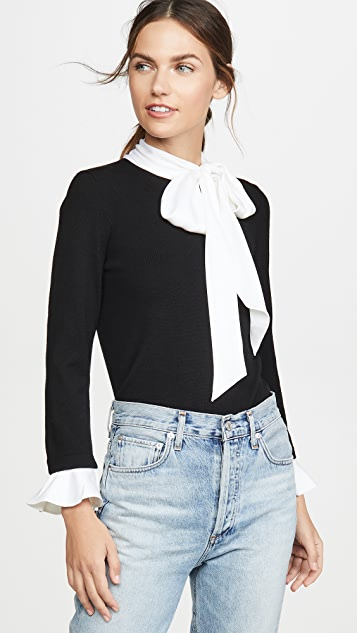 Alice + Olivia Knitwear Justina Tie Neck Combo Long Sleeve Pullover