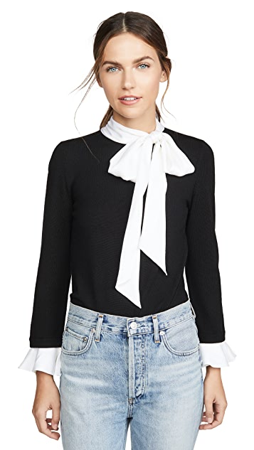 alice + olivia Justina Tie Neck Combo Long Sleeve Pullover