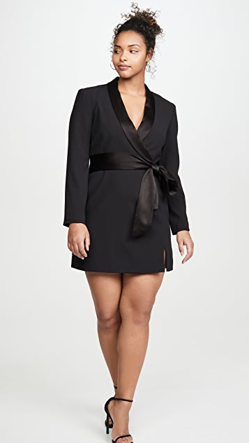 alice + olivia Mona 一字肩西装连衣裙