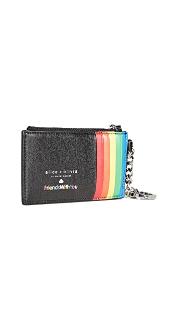 alice + olivia x Friends With You Regina Print Zip Top Card Case