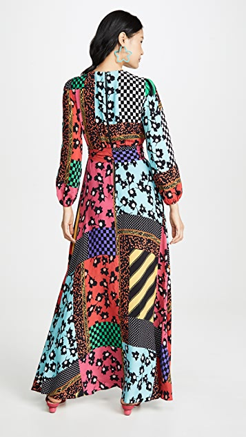 alice + olivia Coco Mock Wrap Maxi Dress