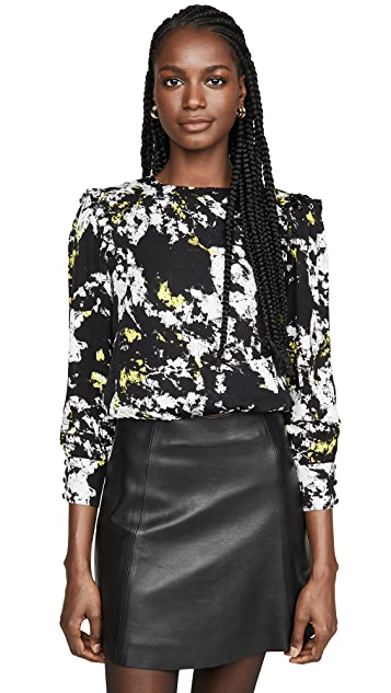 alice + olivia Jos Puff Sleeve Cropped Blouse