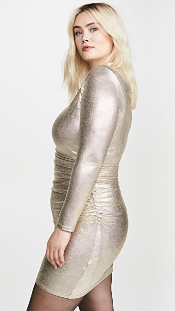 alice + olivia Hilary Ruched Mock Neck Dress
