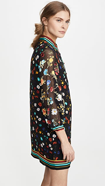 alice + olivia Lalita Collared Blouson Sleeve Dress