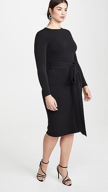 alice + olivia Delora 长袖正面绑带连衣裙