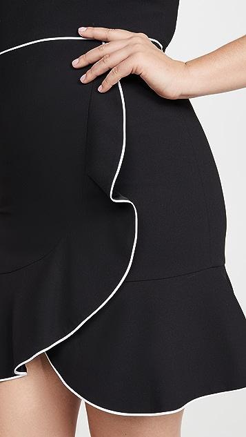 alice + olivia Kirby 滚边荷叶边短袖连衣裙