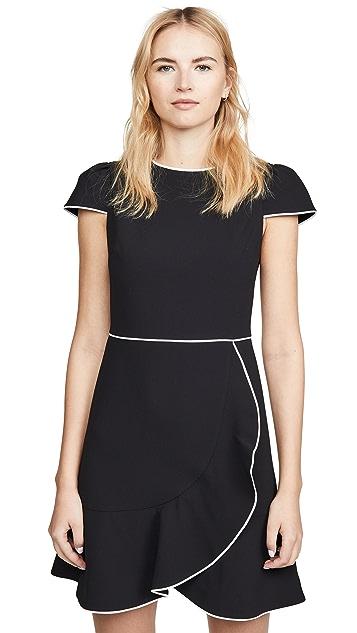 alice + olivia Kirby Piped Ruffle Short Sleeve Dress