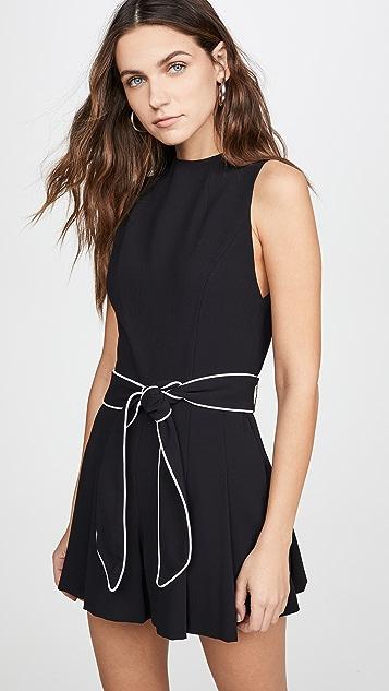 alice + olivia Harlan 半高领裥褶系腰带短款连身衣