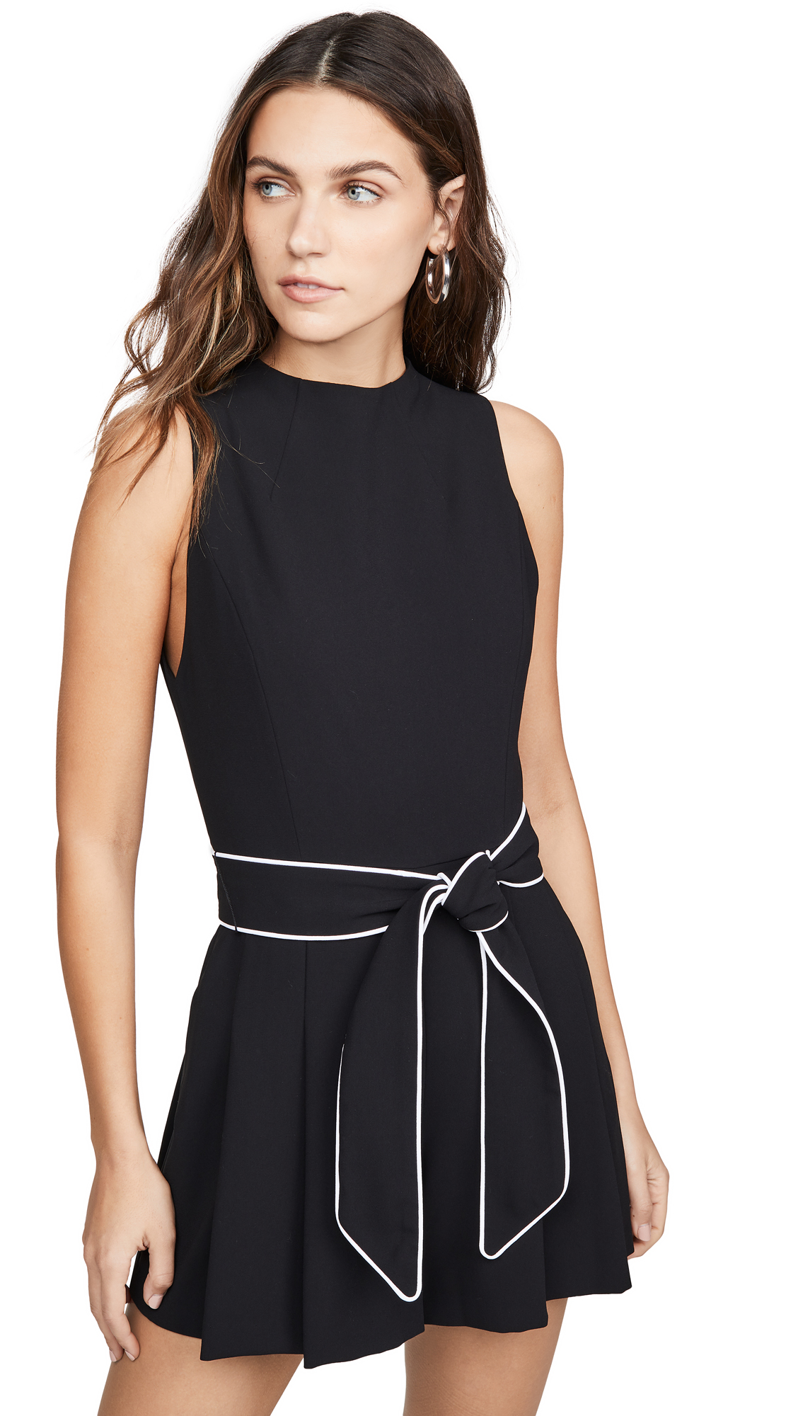 alice + olivia Harlan Mockneck Pleated Romper with Belt