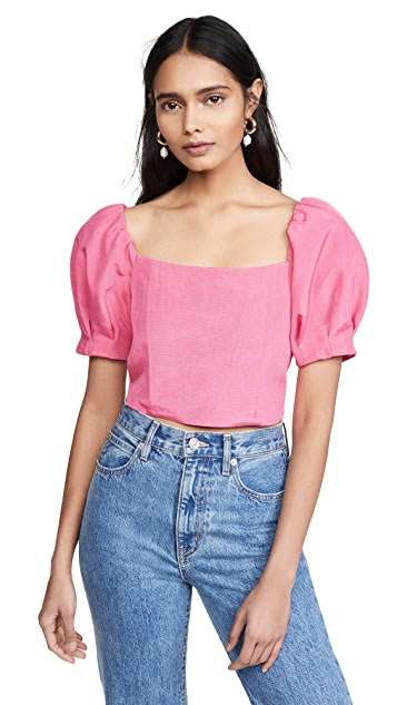 alice + olivia Joslyn Puff Sleeve Cropped Top