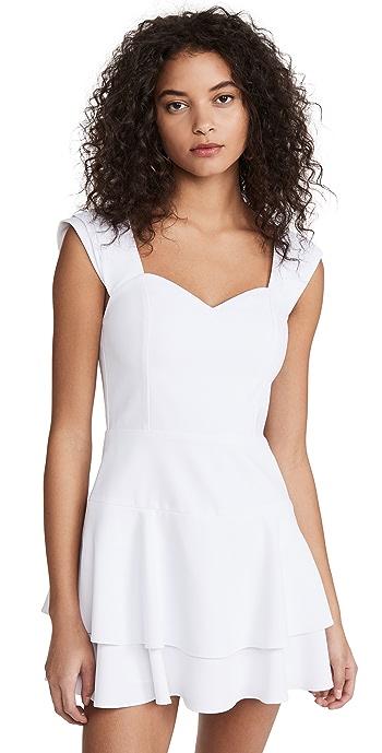 alice + olivia Brinda Double Ruffle Fit Flare Dress - White