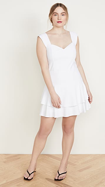 alice + olivia Brinda Double Ruffle Fit Flare Dress