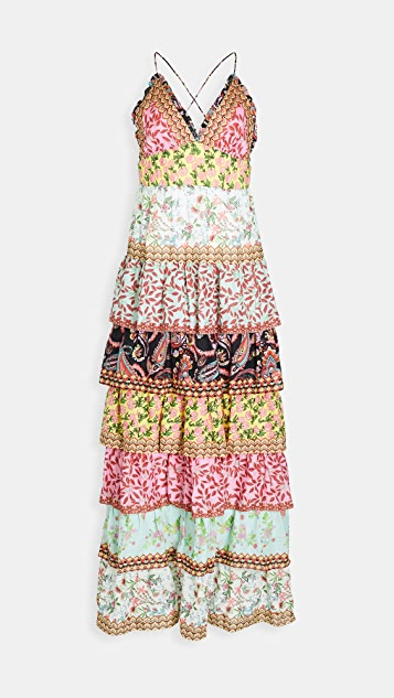 alice + olivia Imogene Tier Ruffle Spaghetti Strap Dress