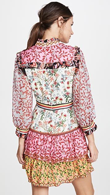 alice + olivia Kathy Button Down Tiered Dress