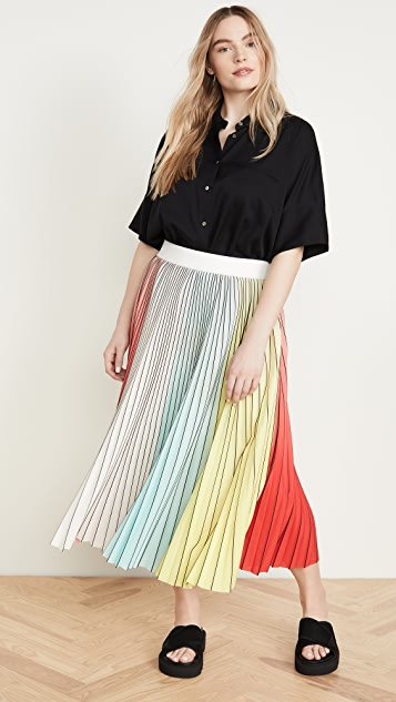 alice + olivia Arden Pleated Midi Skirt
