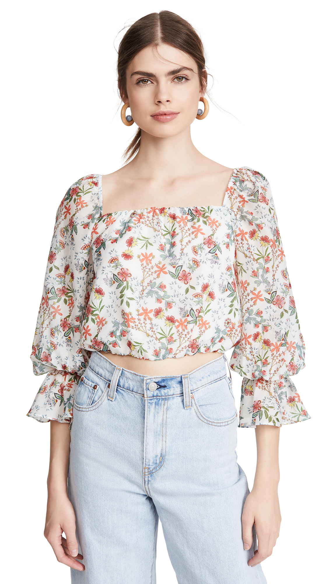 alice + olivia Deb Square Neck Blouse