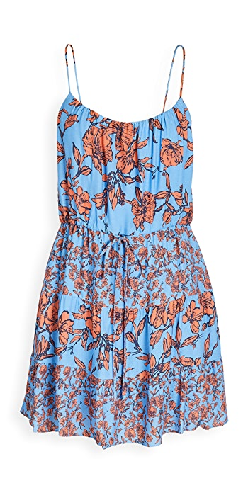 alice + olivia Cheyla Drawstring Dress - Sketch Floral Lg Prd