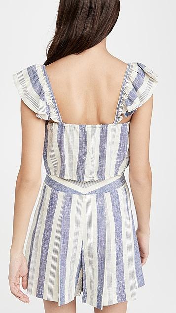 alice + olivia Celestia 荷叶袖宽松束口中长版型上衣