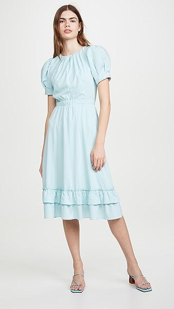 alice + olivia Vida 泡泡袖荷叶边中长连衣裙