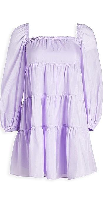 alice + olivia Rowen Tiered Square Neck Dress - Lavender