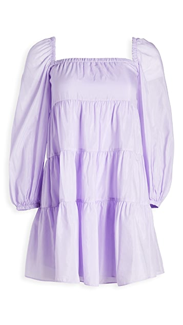 alice + olivia Rowen Tiered Square Neck Dress