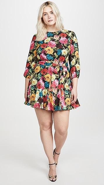 alice + olivia Mina Puff Sleeve Godet Dress with Belt