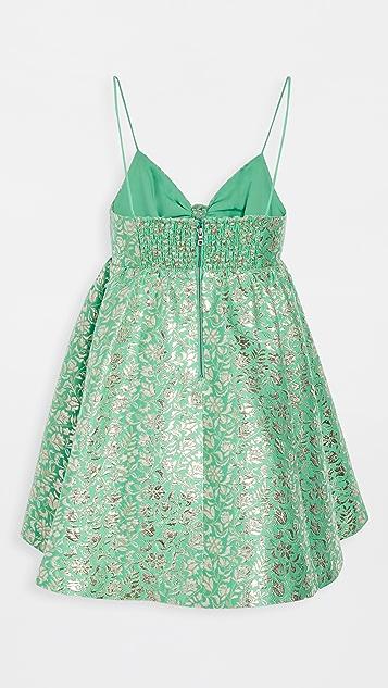 alice + olivia Melvina Tie Front Gathered Babydoll Dress