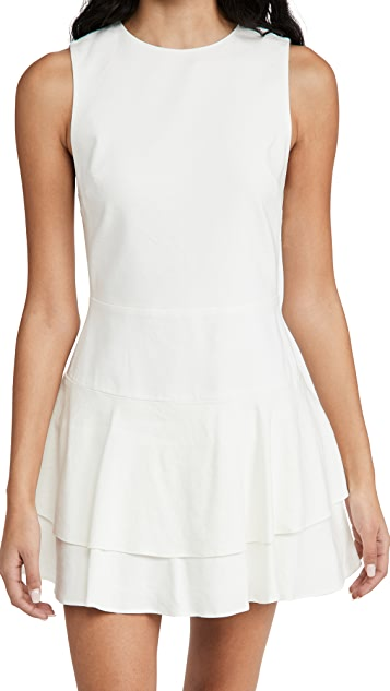 alice + olivia Palmira Sleeveless Ruffle Dress in Off-White