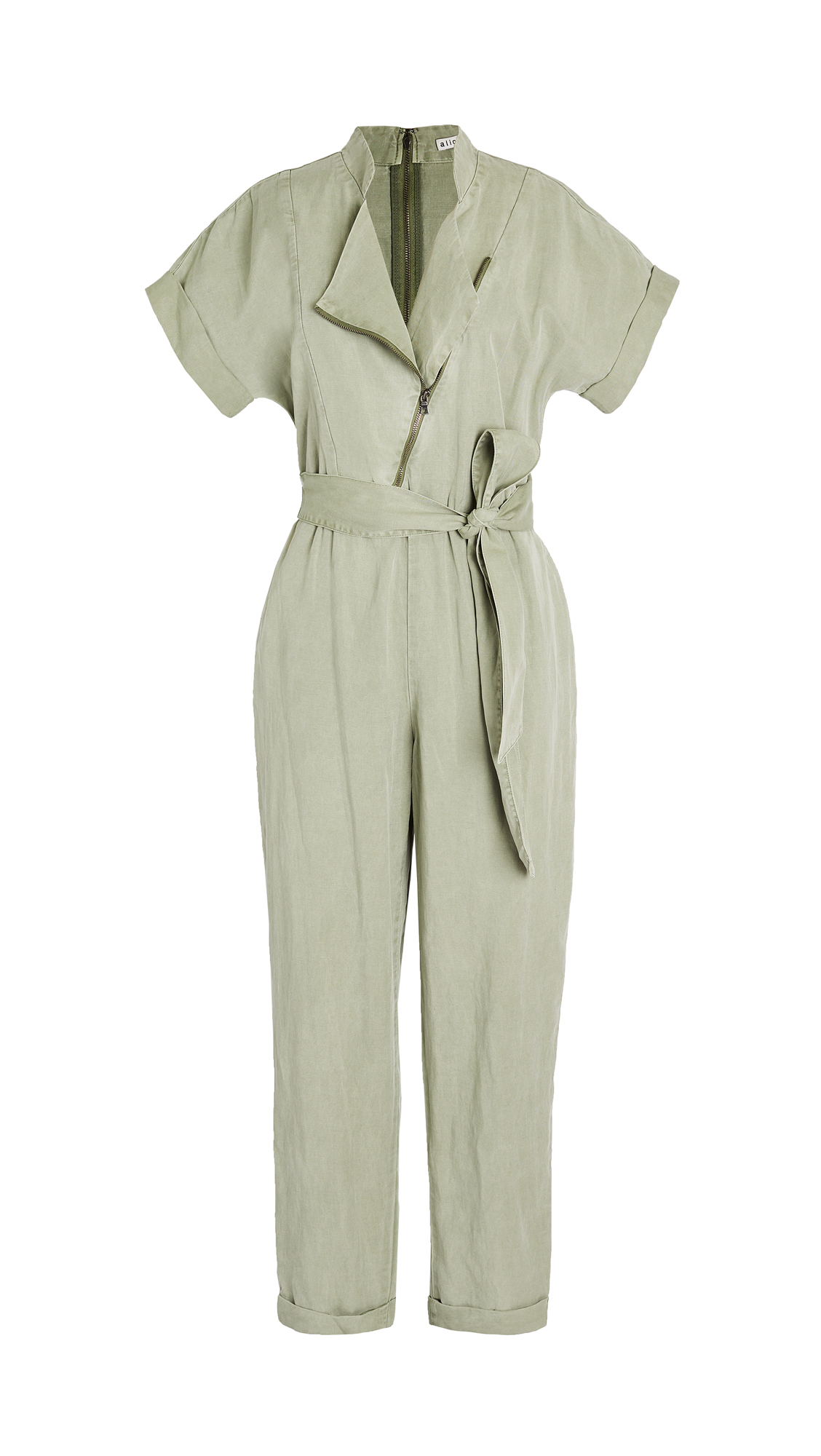 alice + olivia Leonarda Asymmetrical Jumpsuit with Tie Belt
