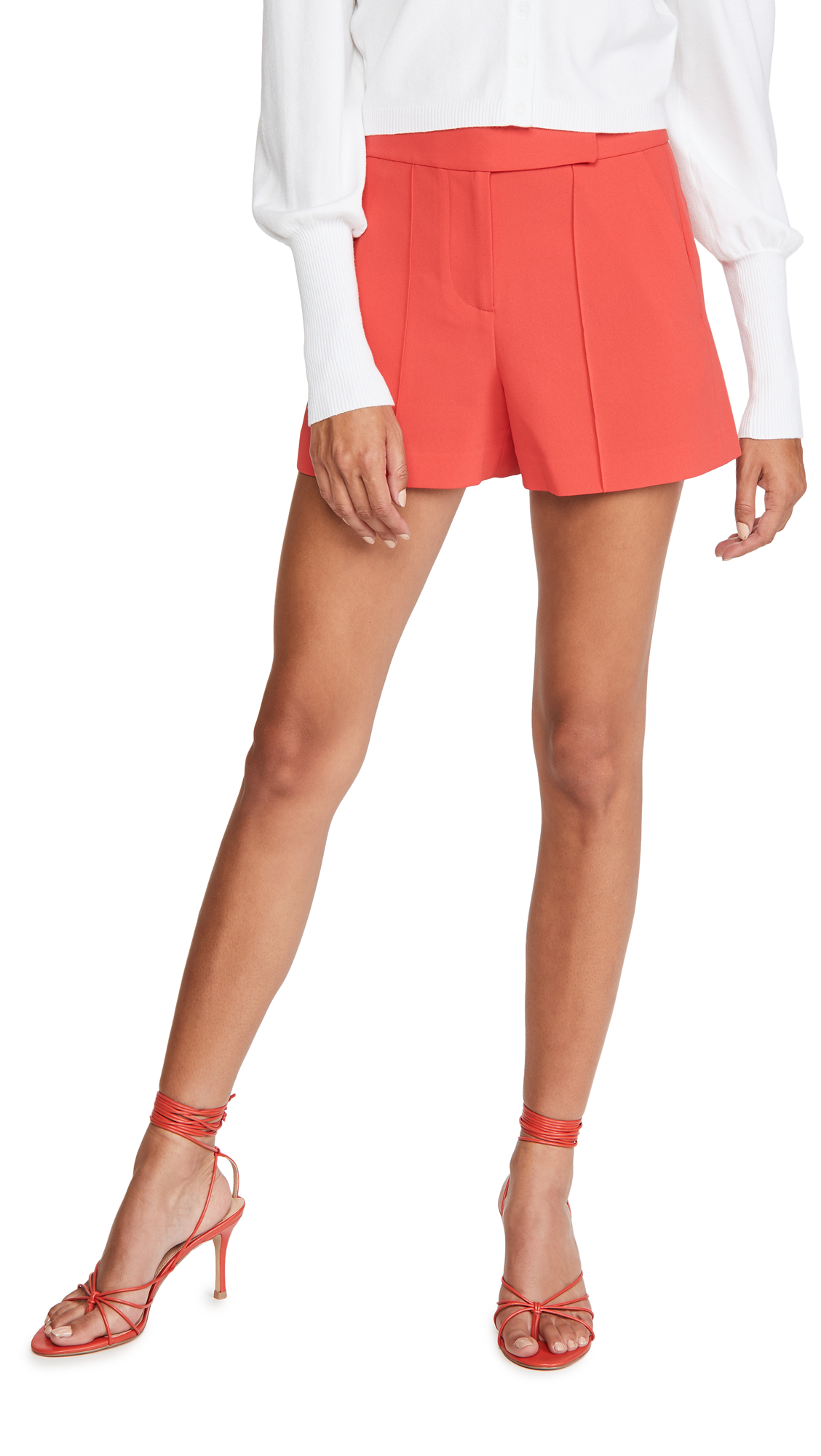 alice + olivia Dylan High Waist Tab Pintuck Shorts