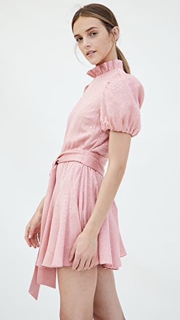 alice + olivia Mina Pleated Sleeve Godet Dress