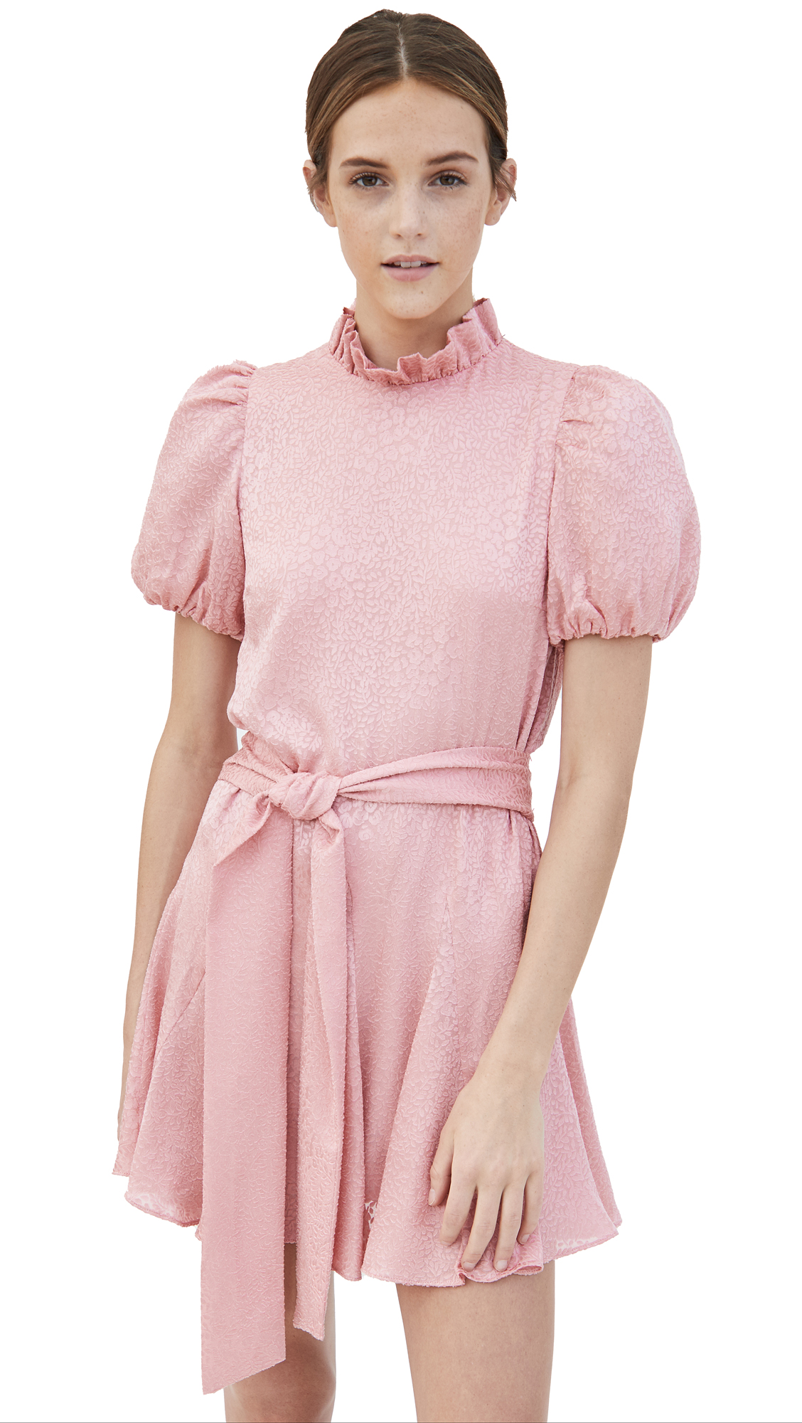 alice + olivia Mina Pleated Sleeve Godet Dress