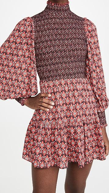 alice + olivia Elvira Smock Bodice Tiered Dress