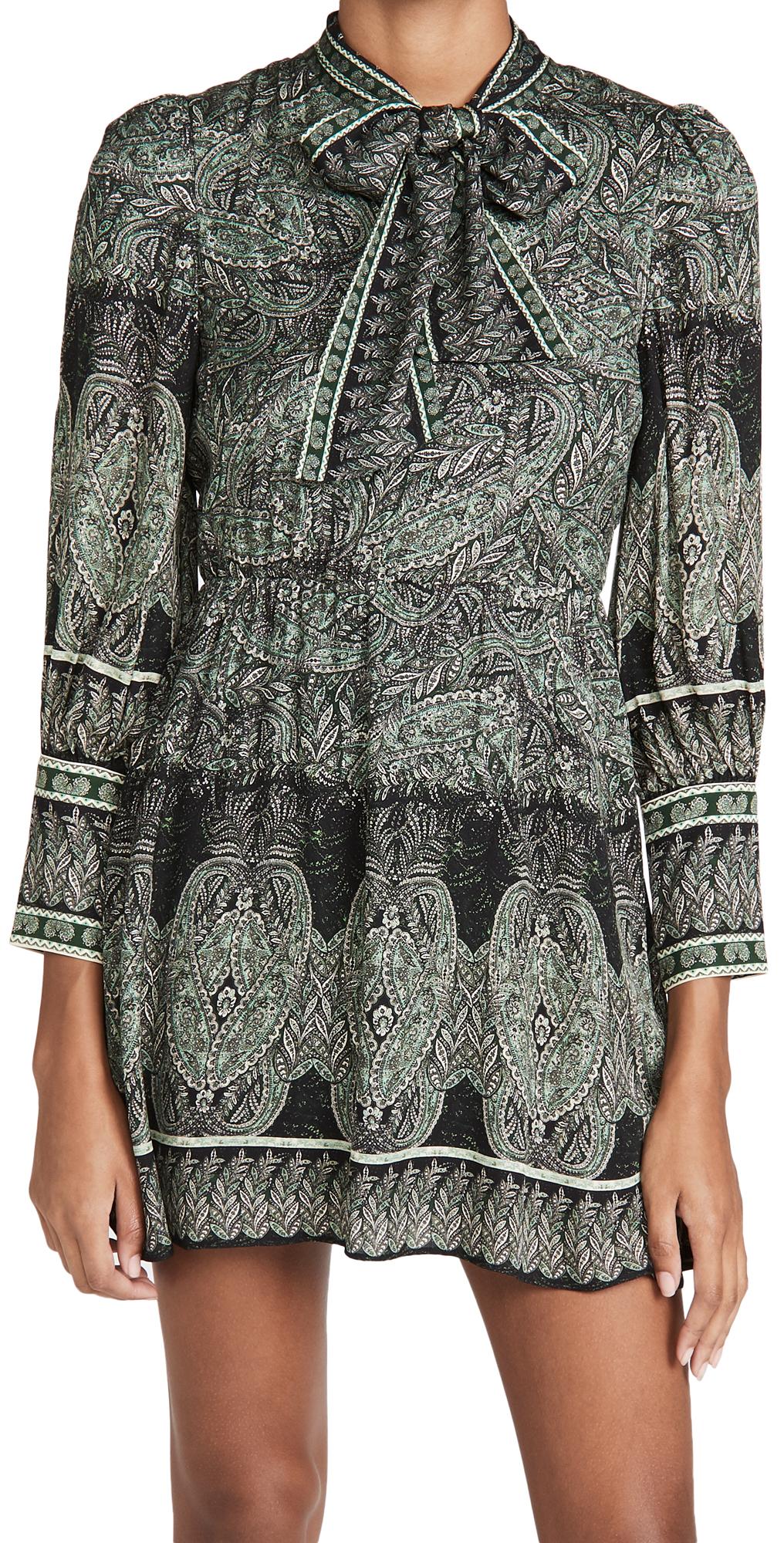 alice + olivia Tanisha Flare Dress with Neck Tie