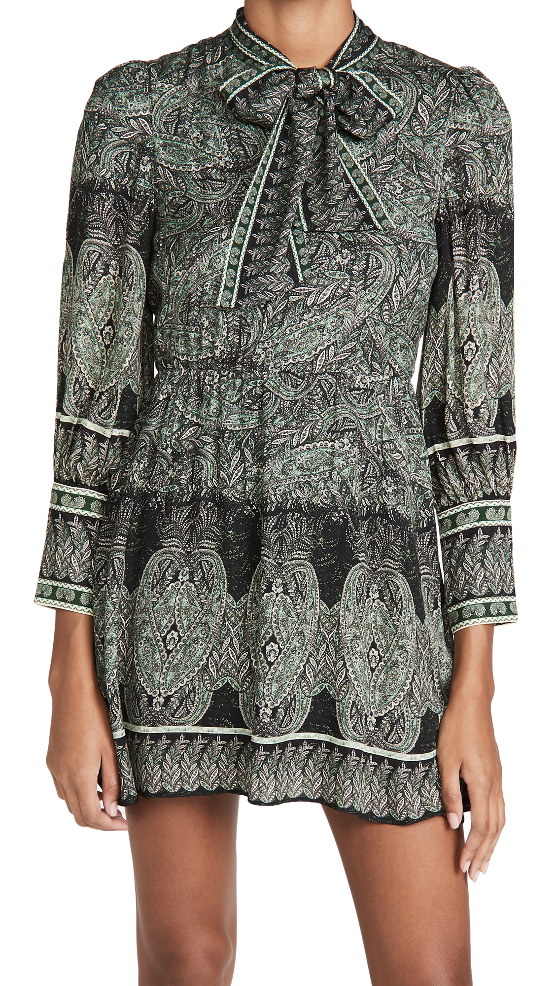 alice + olivia Tanisha Flare Dress with Neck Tie