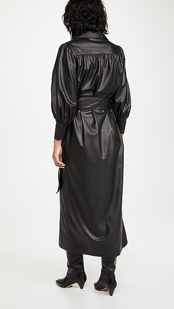 alice + olivia Zarita 人造皮领带连衣裙