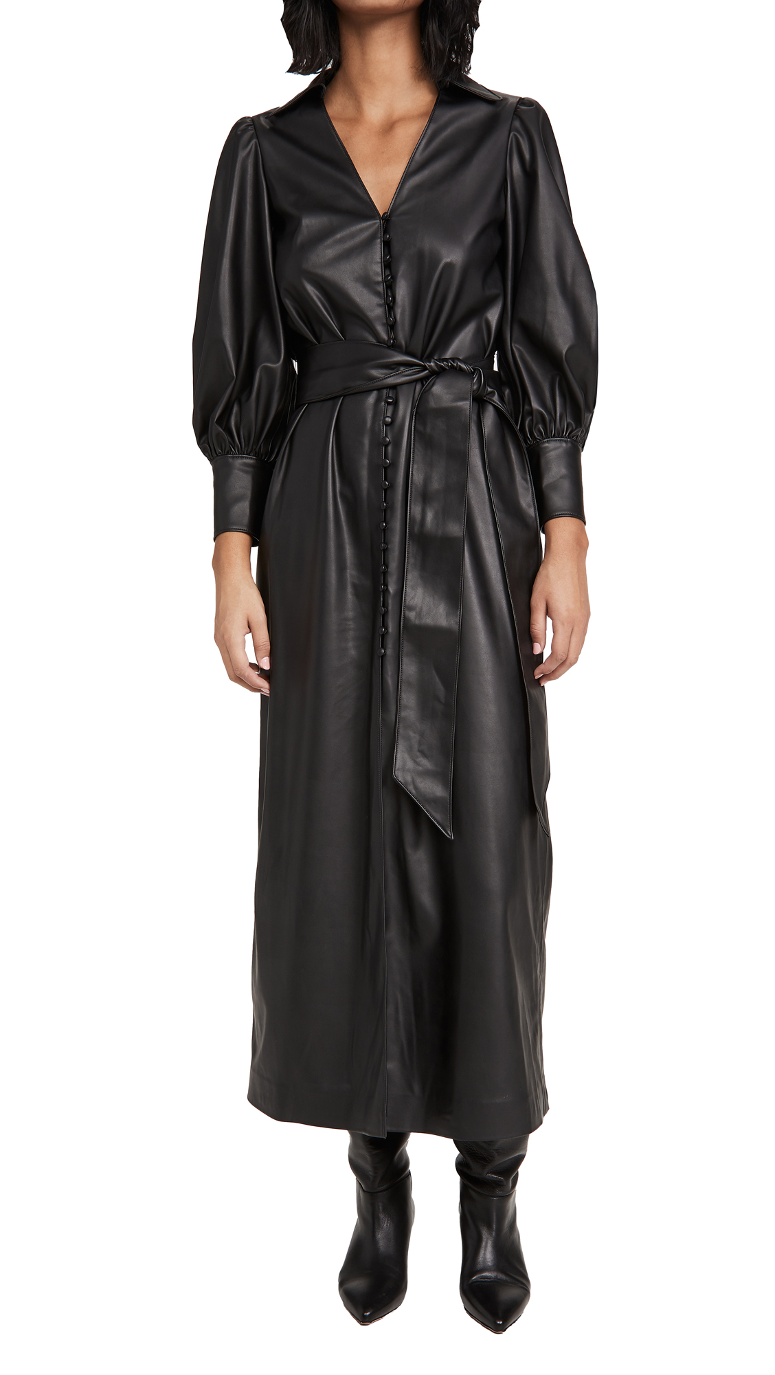 alice + olivia Zarita Vegan Leather Dress with Tie