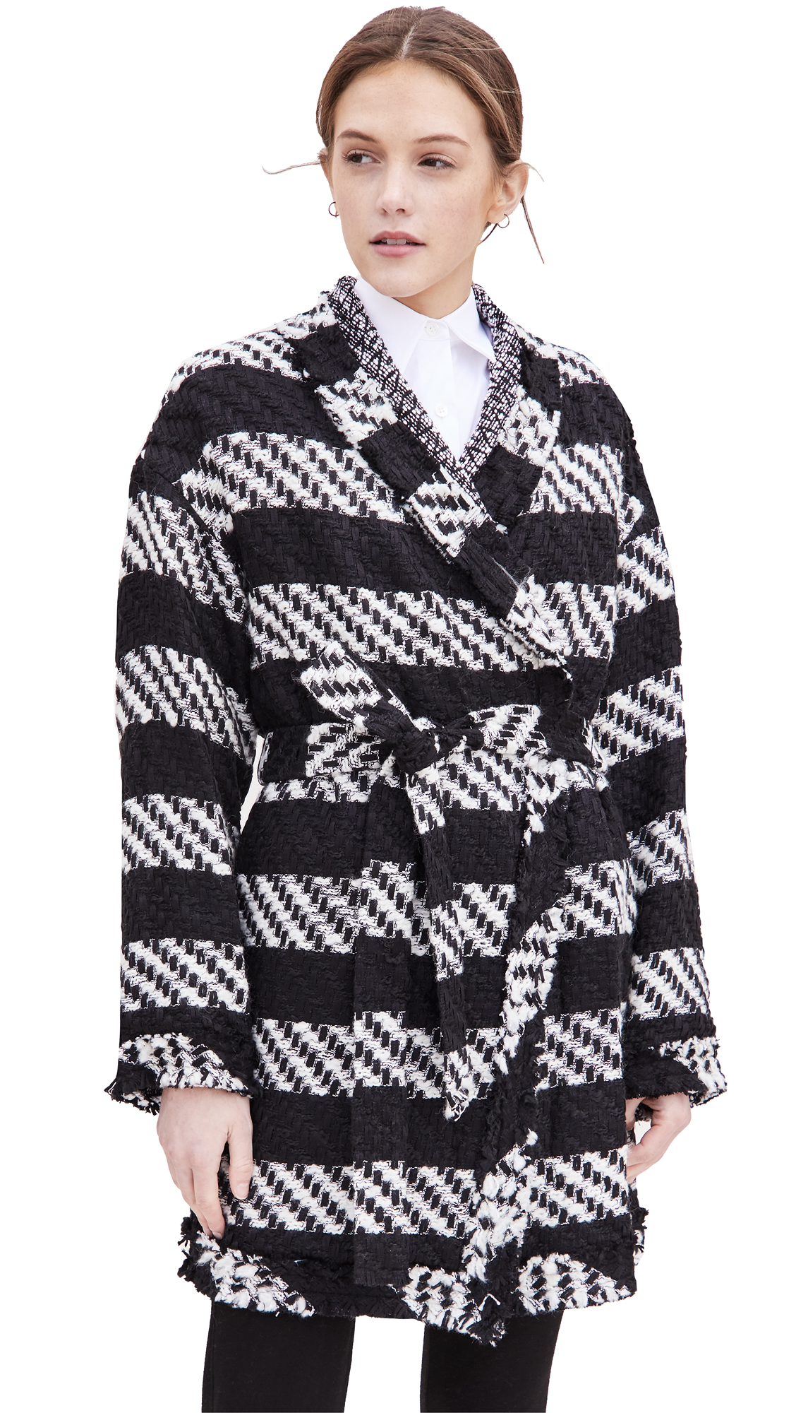 alice + olivia Jorgie Reversible Wrap Coat with Tie Belt